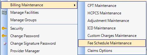 1. Open Fee Schedule Maintenance