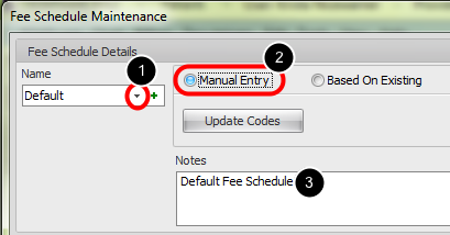 2. Select the Default Fee Schedule