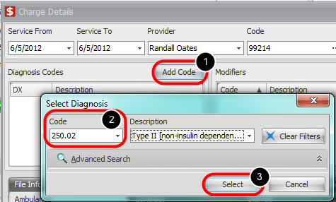7. Add Diagnosis Codes to Charge