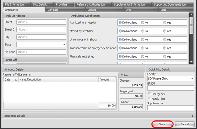 10. Enter Miscellaneous Details of Charge & Save