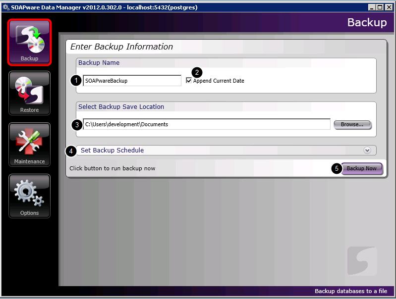 3. Enter Backup Information