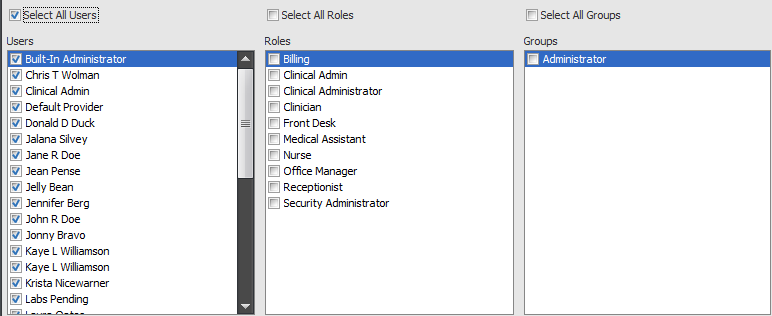 4. Select Users/Roles/Groups for Alert