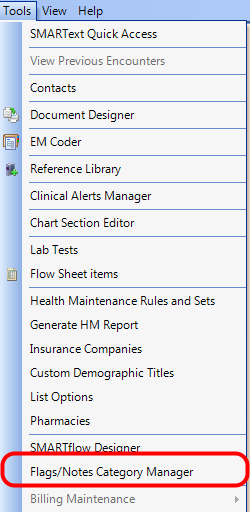 1. Open the Flags/Notes Category Manager
