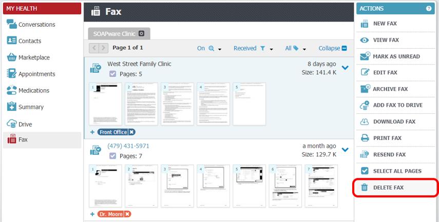 Delete a Fax