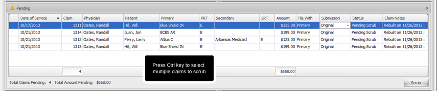 3. Select Claims to Scrub