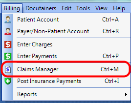1. Open the Claims Manager