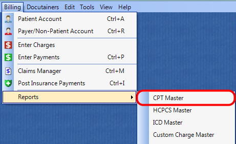 1. Select the CPT Master Report