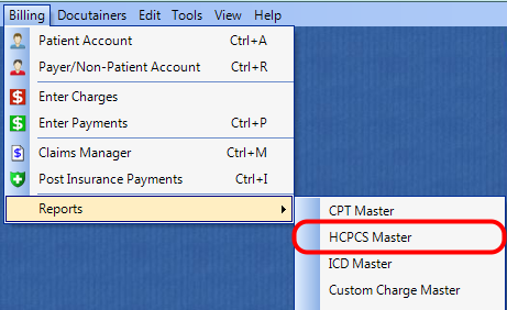 1. Select the HCPCS Master Report