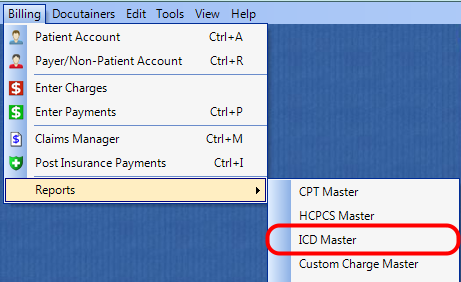 1. Select the ICD Master Report