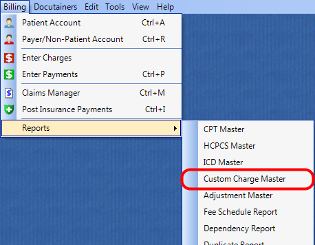 1. Select the Custom Charges Master Report