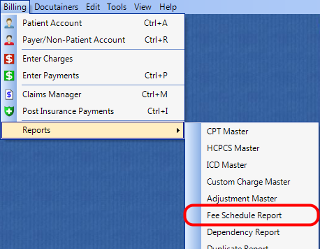 1. Select the Fee Schedule Report