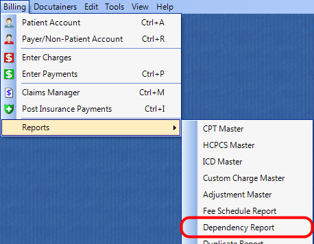 1. Select the Dependency Report