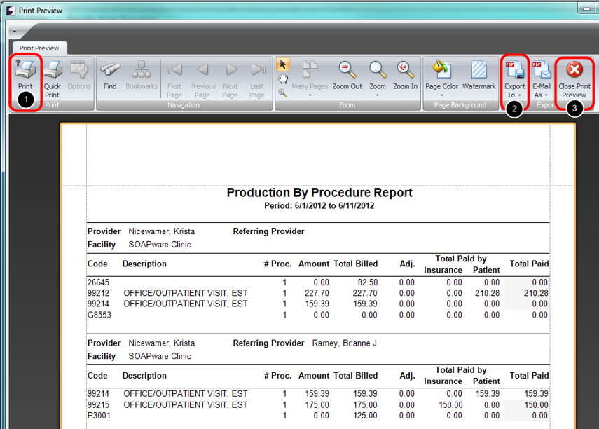 3. Print or Save Report as Desired