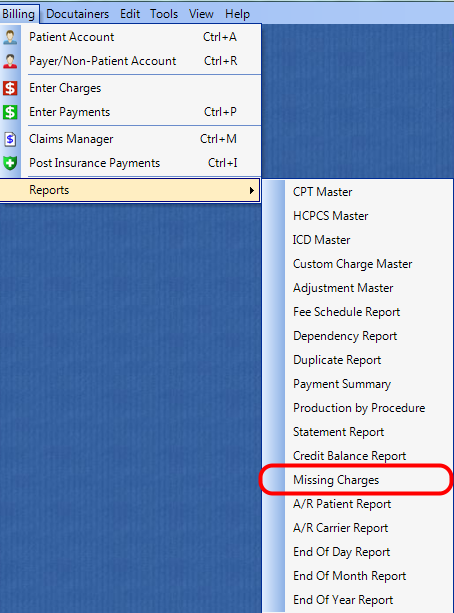 1. Select the Missing Charges Report