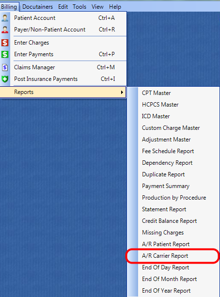 1. Select the A/R Carrier Report