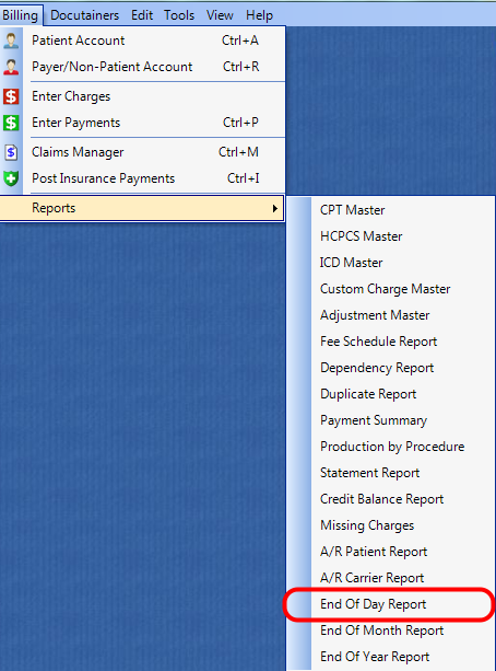 1. Select the End of Day Report