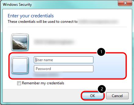 3. Enter User Name & Password for the Server