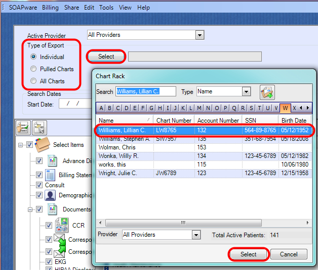 2. Select the Type of Export