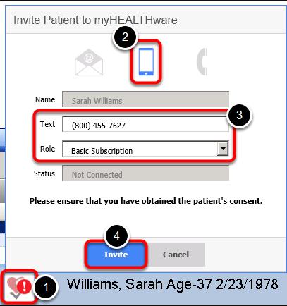 - Send the Patient a myHEALTHware Invitation