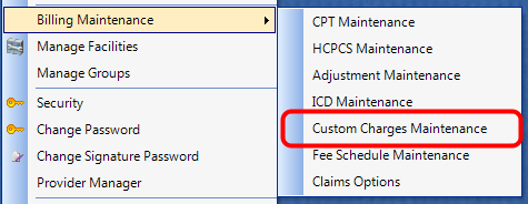 1. Open Custom Charges Maintenance