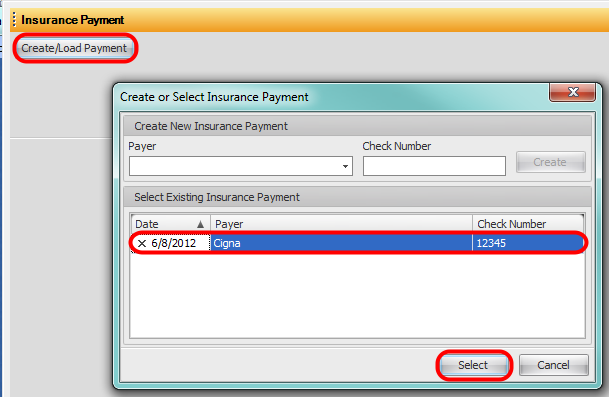 5. Insurance Payment: Select Insurance Payment