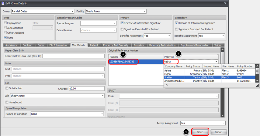 Add Original Reference Number/ICN In Misc Details tab