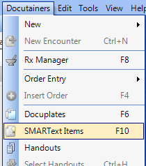 1. Open the SMARText Items Manager