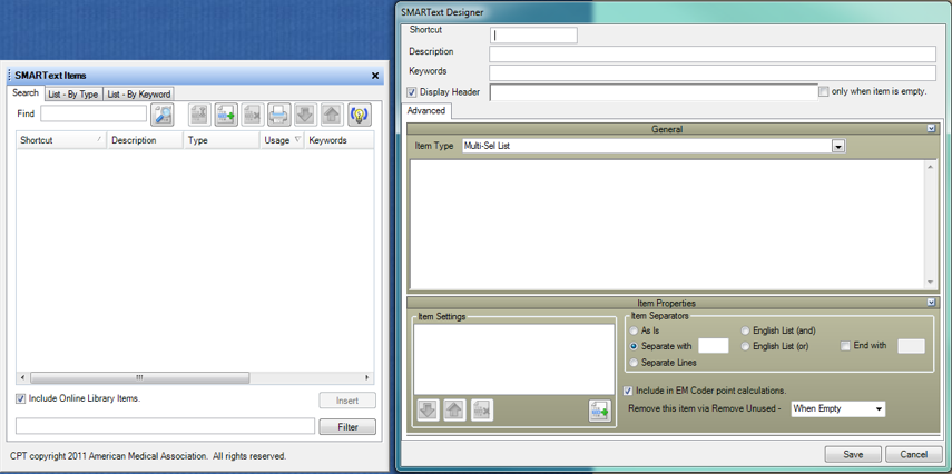 3. Align the SMARText Items Manager and Designer Windows