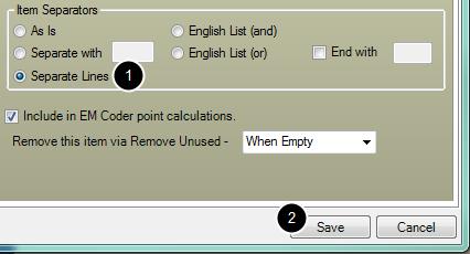 6. Select Item Separators