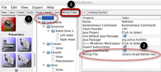 Filling in the wiring file location