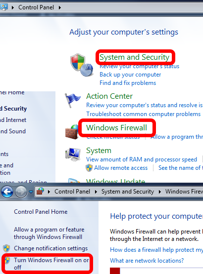Disabling Windows Firewall