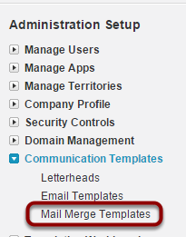 Upload template into Salesforce