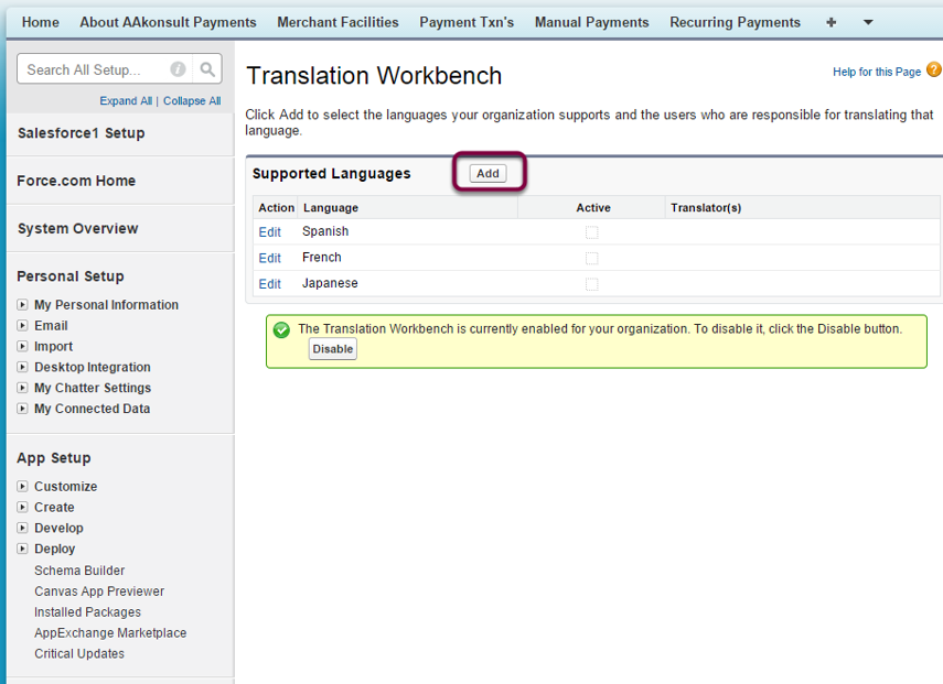Add Languages for Translation Workbench