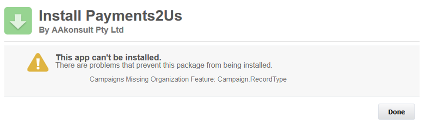 This Package Cannot be installed - Campaigns Missing Organization Features: Record Type