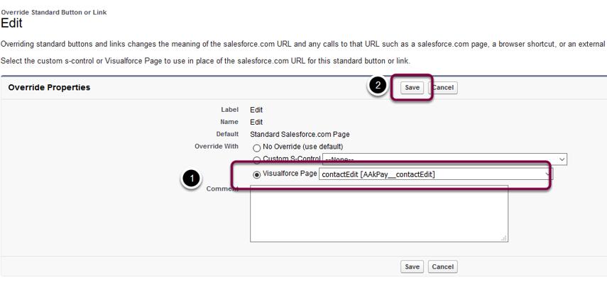 Assign Visualforce Page AAkPay__contactEdit