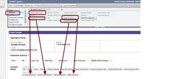 Drop & drag the 'Credit Card Payment' and 'Manual Payment' buttons onto the page layout