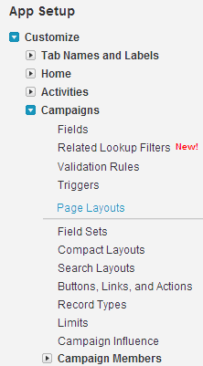 Navigate to Setup > App Setup > Customize > Campaigns > Page Layouts