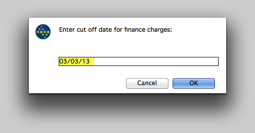 Enter cut off date for finance charges.