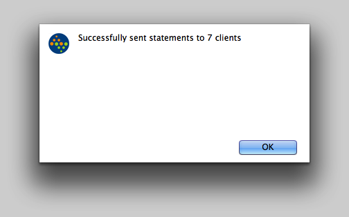 Successfully sent statements to clients.
