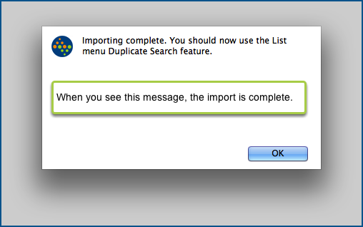 Importing Complete.