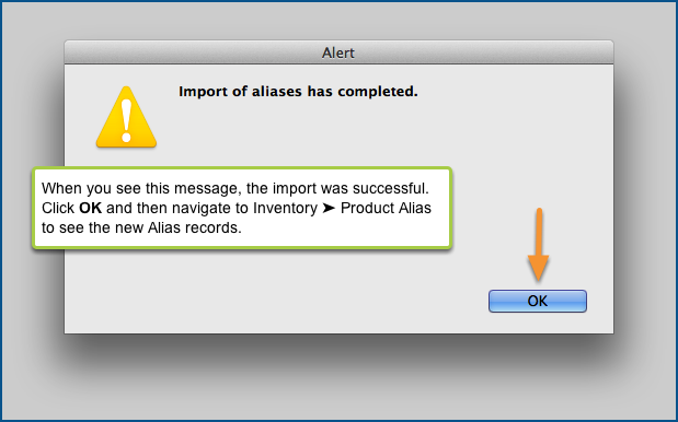 Import of aliases has completed.