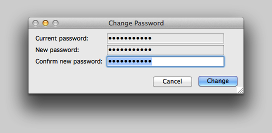 Enter the current and new passwords.