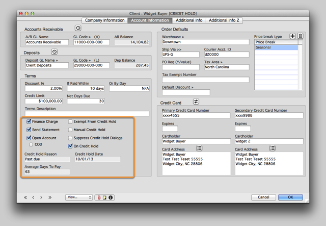 Modifying Credit Hold settings for individual Clients