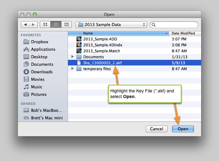 Select the Key File