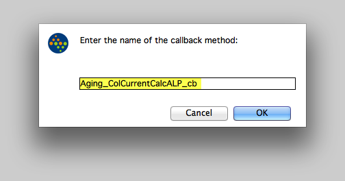 Enter the name of the callback method.