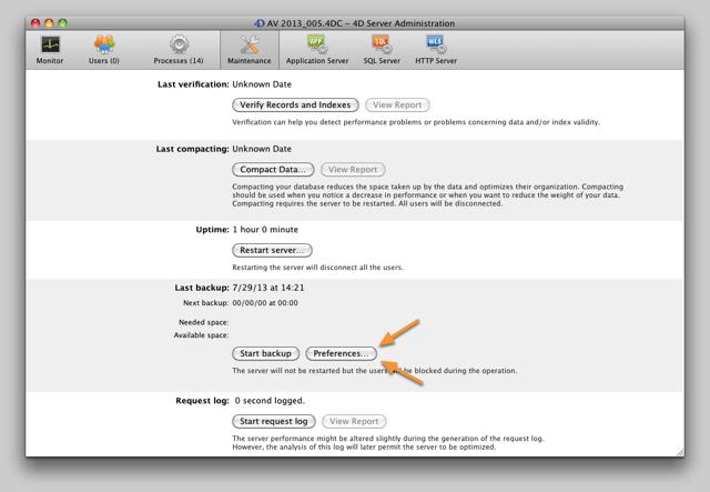 AV Server Maintenance tab