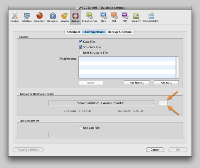 AV Server Backup Configuration
