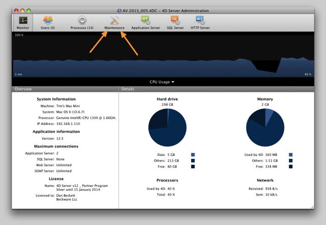 AV Server Monitor tab