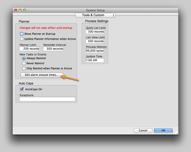 System Setup > Tools & Custom window.