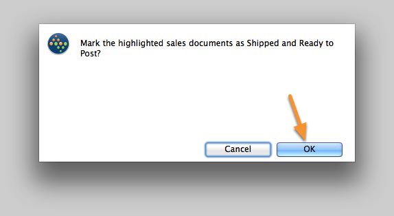 Confirm the action to Mark as Shipped & Ready to Post